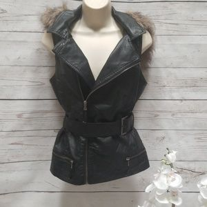 Taxi Motor Style Leather Vest with Faux Fur Hood